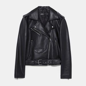 Zara Faux Leather Biker Jacket XS